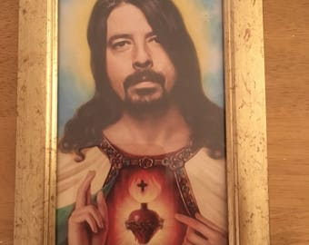 Dave Grohl colour print religious in a gold frame 6x4""