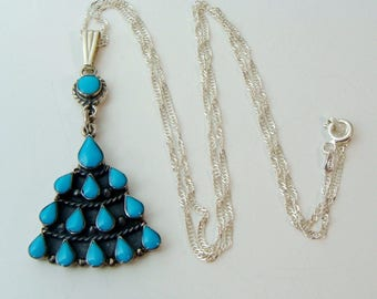 """VINTAGE 925 STERLING Silver Turquoise Pendant By Bernice Goodspeed Necklace 20"""""""