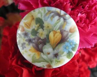 Crocus Iris Spring Bloom Czech Glass Picture Button 42mm