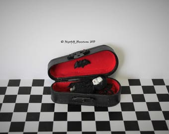 Dollhouse Miniature Gothic Creepy Vampire Baby in coffin in 1:12 scale