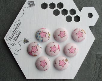 24L Handmade Fabric Covered Buttons - 8 x 15mm Buttons, Star Buttons, Baby Buttons, Childrens Buttons, Pink Buttons, Baby Shower Gift, 4432