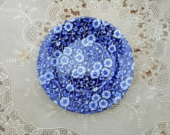 Vintage Calico Blue Burleigh Staffordshire Bread and Butter Plate Royal Crownford