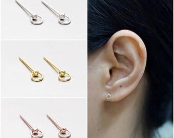 925 Sterling Silver Earrings, Stud Hoop Earrings, Rose Earrings, Gold Plated, Rose Gold Plated Earrings, Stud Earrings (Code : E03A)