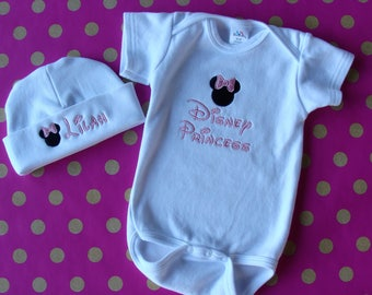 Disney new baby gift etsy baby set outfit personalized baby hat and onesie disney princess shower gift new negle Choice Image