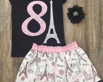 Girls Paris Birthday Outfit, Girls 8th Birthday Eiffel Tower Outfit, Pink and Black, Size 8, Ready to Ship