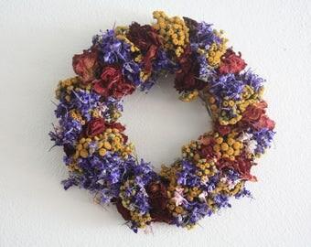 """Dried Flower wreath, wedding wreath ,summer wreath , door wreath, kitchen wreath, garden shabby chic 24 cm , 9.44"""""""