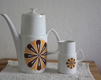 Vintage coffee set coffee,tee pot, milk jug,  70s, Czech Slovakia  Pottery