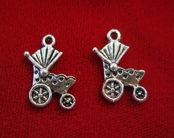 """BULK! 30pc """"baby carriage"""" charms in antique silver style (BC185B)"""