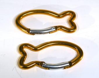 """BULK! 15pc """"fish carabiner"""" clip-ons in orange (JC147B -orange)"""