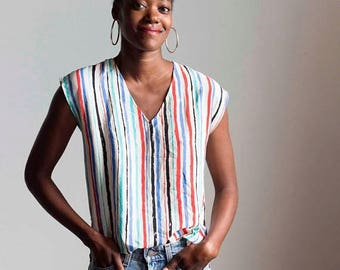 ECLIPSE 1980s Painterly Stripes Silk Cap Sleeve Top // Small