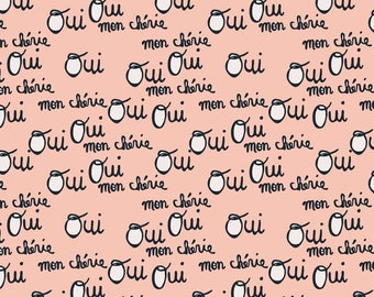 Fitted Cot / Crib sheet - Oui Oui Mon Cherie - Made to order