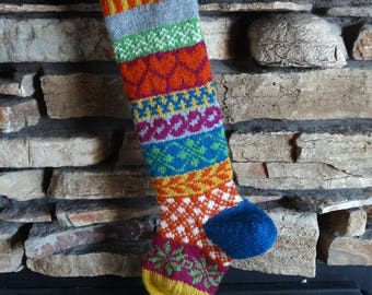 Christmas Stocking, Knit Christmas Stockings, Personalized Christmas Stockings, Knitted Christmas Stocking, Orange Hearts Magenta Snowflakes