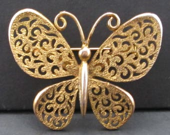 Vintage Gold Tone Butterfly Brooch Signed JJ