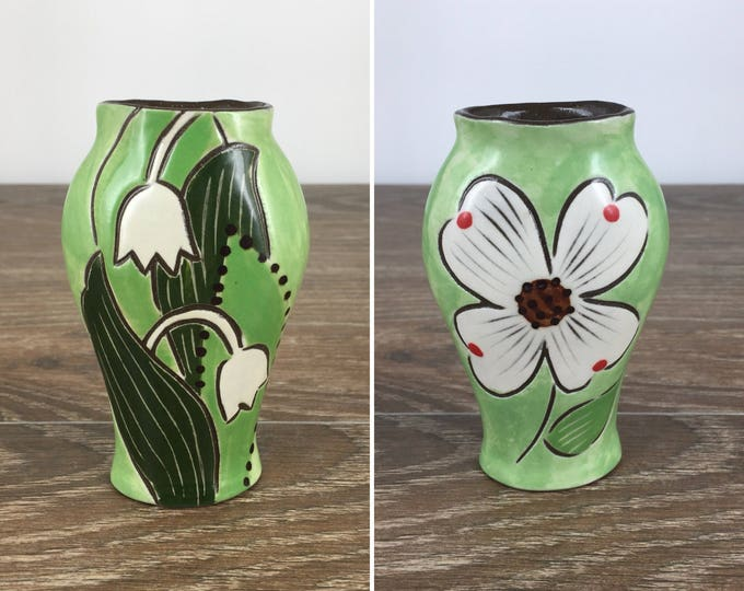 Featured listing image: Reversible Bud Vase with Dogwood Blossom and Lilies of the Valley