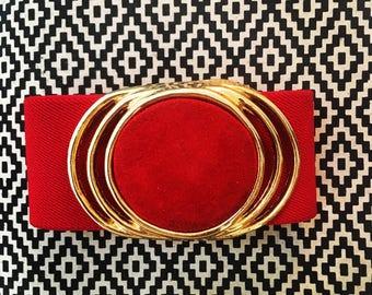 Lovely Vintage 80s Glam Red Gold Medallion Stretch Belt