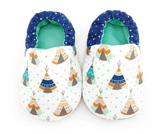 Blue Tepee Tent Soft Soled Baby Shoes | Fabric Baby Shoes | Handmade Baby Booties | Prewalker Shoes | Non Slip Baby Shoes