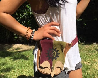 Suede leather fanny pack,tan,green,red, hippie bag,festival bag,Sun