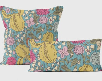 Decorative Pillows, Throw Pillow Covers, Pillow For Couch, Pillow Cases, 18x18, Floral Cushion,  Designer Pillows, Blue, Yellow, Pink