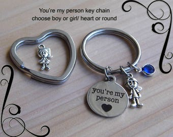 You're my Person Key chain, you are my person, Best Friends, Stamped key chain, You're my person gift, Friendship Gift, Sisters gift, charm