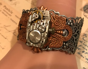 Steampunk Cuff, Steampunk Bracelet,Steampunk Jewelry, Clockworks, Watch Movement, Cosplay, Neo Victorian Jewelry, Steampunk Cuff, Gothic