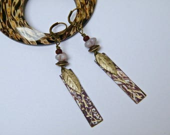 """Brass earrings, glass beads, weathered impressions, handpainted """"Meli-Melo"""" gift idea for woman"""