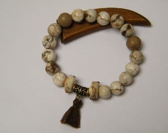 Natural gemstone bracelet, agate, cotton tassel, Lampwork Glass, brass, women gift idea