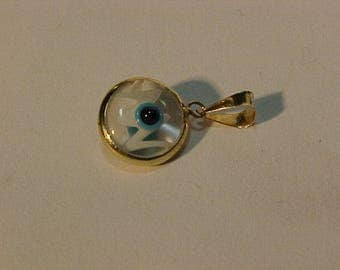14k yellow gold bezeled EVIL EYE charm pendent-Ship in Canada or th continental USA only