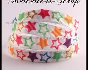 Ribbon star multicolor 10mm sold by the yard grosgrain Ribbon