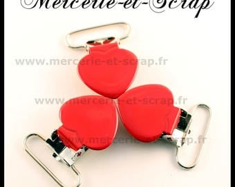 SET of 40 pins strap red 25mm heart shape