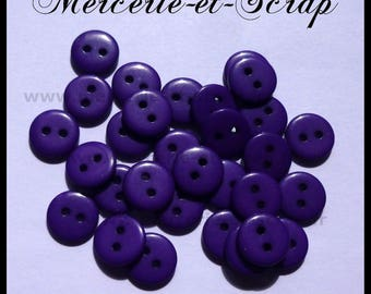 Lot 15 round buttons 2 holes 11mm purple violet baby scrapbooking cardmaking