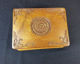 Vintage Hand Carved Wood French Jewelry or Trinket Box Wooden 1930's