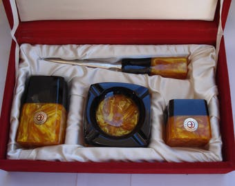 Vintage Bulgarian Catalin Set/ Luxury Gift/Set of 4 Pices/Ashtray /Letter Opener/Two Cataline Vases/1970s