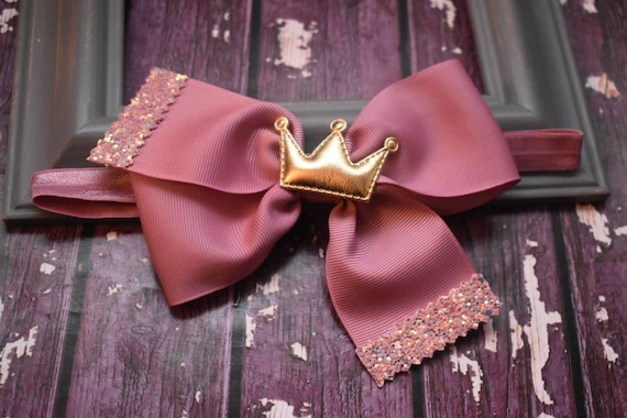Princess Dusky Pink and gold grosgrain bow with a crown - Baby / Toddler / Girls / Kids Headband / Hairband / Barrette / Hairclip