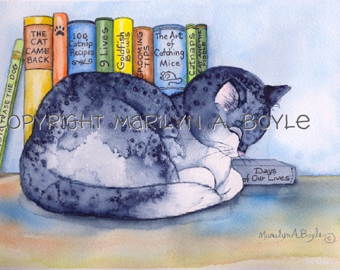 ORIGINAL WATERCOLOR- CAT and Books; free shipping, sleeping cat, books with titles, wall art, children's room, 11 x 14 inches