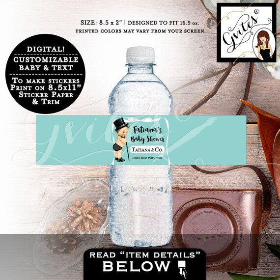 "Baby & Co Water Bottle Labels - Baby Shower Boy Water stickers, party favors gifts, decorations stickers, breakfast at. 8.5x2"" 3 Per/Sheet."
