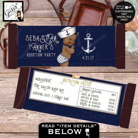 Candy bar wrappers little sailor BABY BOY, hershey chocolate customizable wrapper, adoption party nautical theme. 2-Per/Sheet {You Print}