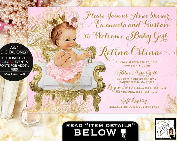 Pink And Gold Baby Shower Invitations, Princess Gold Pink White, Diamonds  Pearls, Vintage