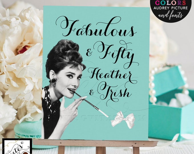 """Fabulous 50 birthday signs, Audrey Hepburn printable poster sign, breakfast at, and co, birthday table decorations. Digital File Only! 8x10"""""""