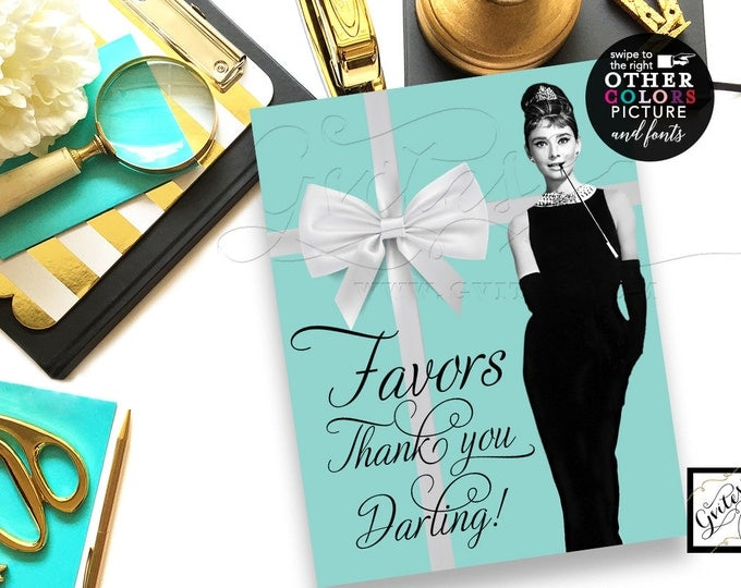 "Favors Thank You Darling! Audrey Hepburn printable favor sign, white bow breakfast at co bridal shower theme, blue, 8x10"" CUSTOMIZABLE"