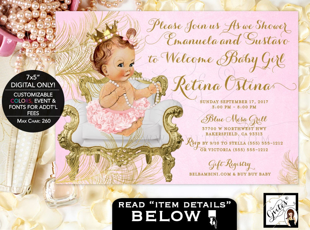Pink and Gold Baby shower invitations, princess gold pink white ...
