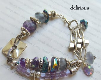 bracelet, amethyst bracelet, purple bracelet, mystic bracelet, bohemian bracelet, biker chic bracelet, boho chic bracelet, chunky