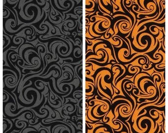 Gray or Orange Fabric with Black Swirls -  100% Quilting Cotton [[by the half yard]]