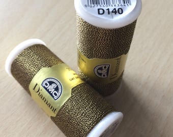 Diamond of DMC 140 gold brown color embroidery thread