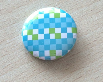 """badge 25 mm vintage """"Turquoise squares"""""""