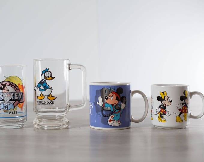 Vintage Disney Mugs and Glass Cups / Collectible Mickey and Minnie Mouse, Donald Duck Drinking Glasses