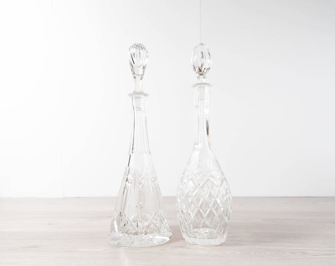 Crystal Glass Decanters / Vintage Etched Glass Decanters for Whisky, Hard Liquor / Vintage Barware