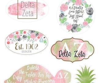 Sorority Water Color Vinyl Stickers (shown in Delta Zeta)