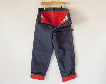 Sear Red Quilted Nylon lined Painter Jeans Rare 1960's Era Jeans Scovill Zipper Like new Still Stiff unworn 34/31