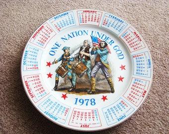 Vintage Collectible 1978 Spencer Gifts Calendar Plate One Nation Under God Vintage 1978 Red White & Blue Calendar, Vintage Patriotic Plates