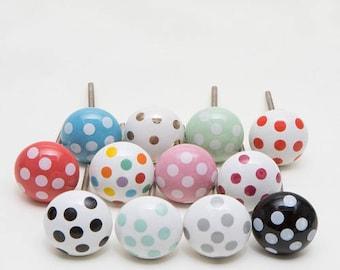 Set of 12 Spotty Dotty Ceramic Knobs